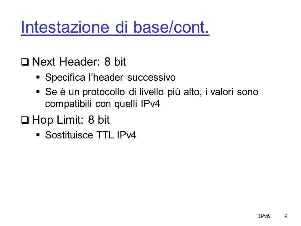 IPv650 Scope Node -> 1 Es.: le interfacce R2, R3 ed R4 Link -> 2 Es.: le interfacce R1 ed R2 Site -> 5 Es.: R1…R5 Global -> E Internet Organization - > 8 company network R1 R2R3 R5 R4 Internet