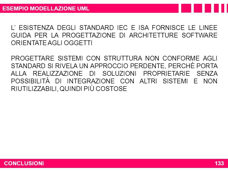 CONCLUSIONI133 ESEMPIO MODELLAZIONE UML L ESISTENZA DEGLI STANDARD IEC E ISA FORNISCE LE LINEE GUIDA PER LA PROGETTAZIONE DI ARCHITETTURE SOFTWARE ORI