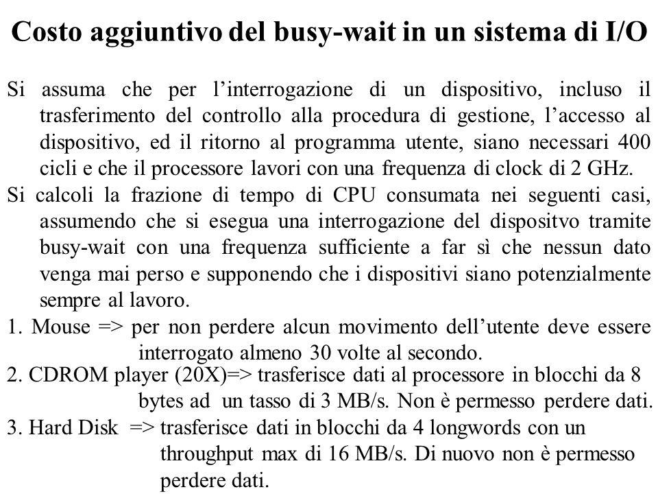 Costo aggiuntivo del busy-wait in un sistema di I/O 2. CDROM player (20X)=> trasferisce dati al processore in blocchi da 8 bytes ad un tasso di 3 MB/s