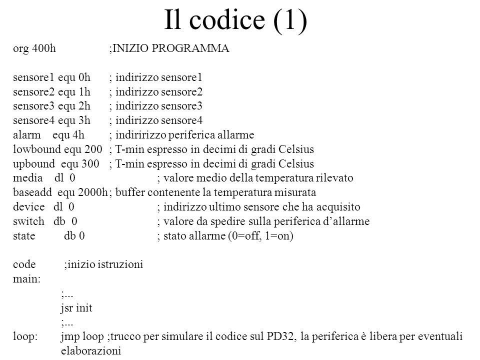 Il codice (1) org 400h ;INIZIO PROGRAMMA sensore1 equ 0h; indirizzo sensore1 sensore2 equ 1h; indirizzo sensore2 sensore3 equ 2h; indirizzo sensore3 s