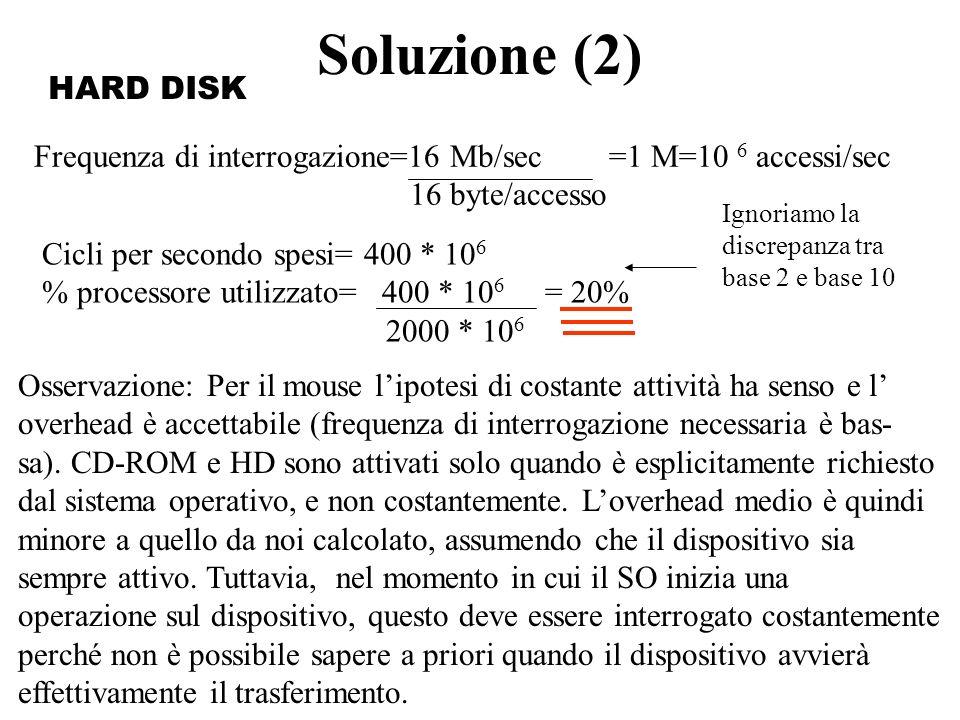 Soluzione (2) Frequenza di interrogazione=16 Mb/sec =1 M=10 6 accessi/sec 16 byte/accesso Cicli per secondo spesi= 400 * 10 6 % processore utilizzato=