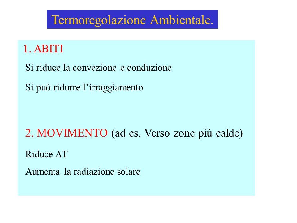 Termoregolazione Ambientale. 1. ABITI Si riduce la convezione e conduzione Si può ridurre lirraggiamento 2. MOVIMENTO (ad es. Verso zone più calde) Ri