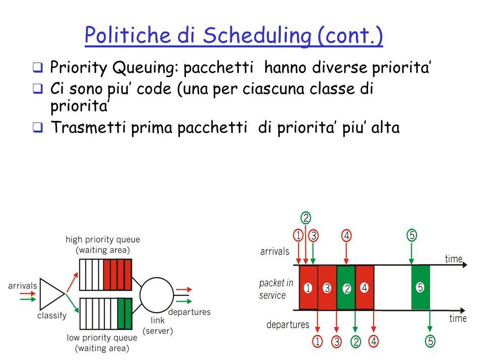 12 Politiche di Scheduling (cont.) Priority Queuing: pacchetti hanno diverse priorita Ci sono piu code (una per ciascuna classe di priorita Trasmetti