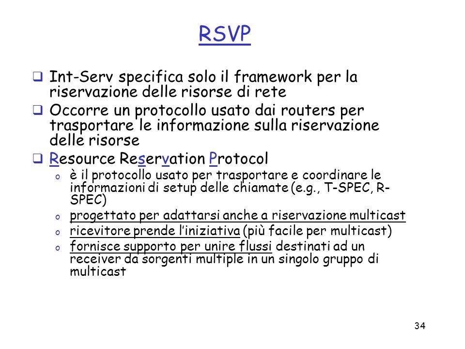 34 RSVP Int-Serv specifica solo il framework per la riservazione delle risorse di rete Occorre un protocollo usato dai routers per trasportare le info