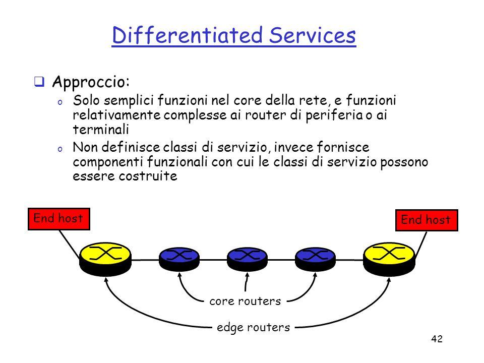 42 Differentiated Services Approccio: o Solo semplici funzioni nel core della rete, e funzioni relativamente complesse ai router di periferia o ai ter