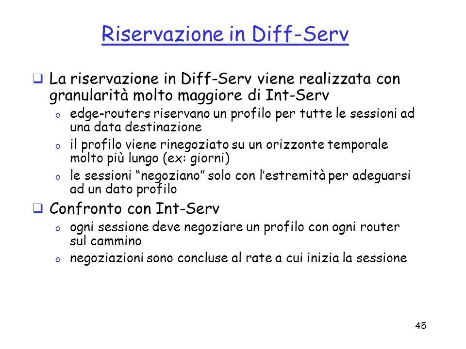 45 Riservazione in Diff-Serv La riservazione in Diff-Serv viene realizzata con granularità molto maggiore di Int-Serv o edge-routers riservano un prof