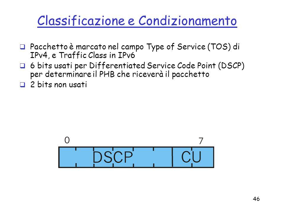 46 Classificazione e Condizionamento Pacchetto è marcato nel campo Type of Service (TOS) di IPv4, e Traffic Class in IPv6 6 bits usati per Differentia