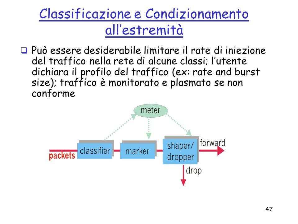 47 Classificazione e Condizionamento allestremità Può essere desiderabile limitare il rate di iniezione del traffico nella rete di alcune classi; lute
