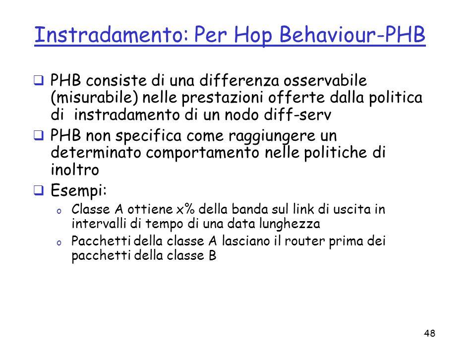 48 Instradamento: Per Hop Behaviour-PHB PHB consiste di una differenza osservabile (misurabile) nelle prestazioni offerte dalla politica di instradame
