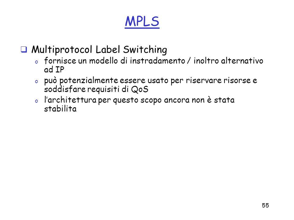 55 MPLS Multiprotocol Label Switching o fornisce un modello di instradamento / inoltro alternativo ad IP o può potenzialmente essere usato per riserva