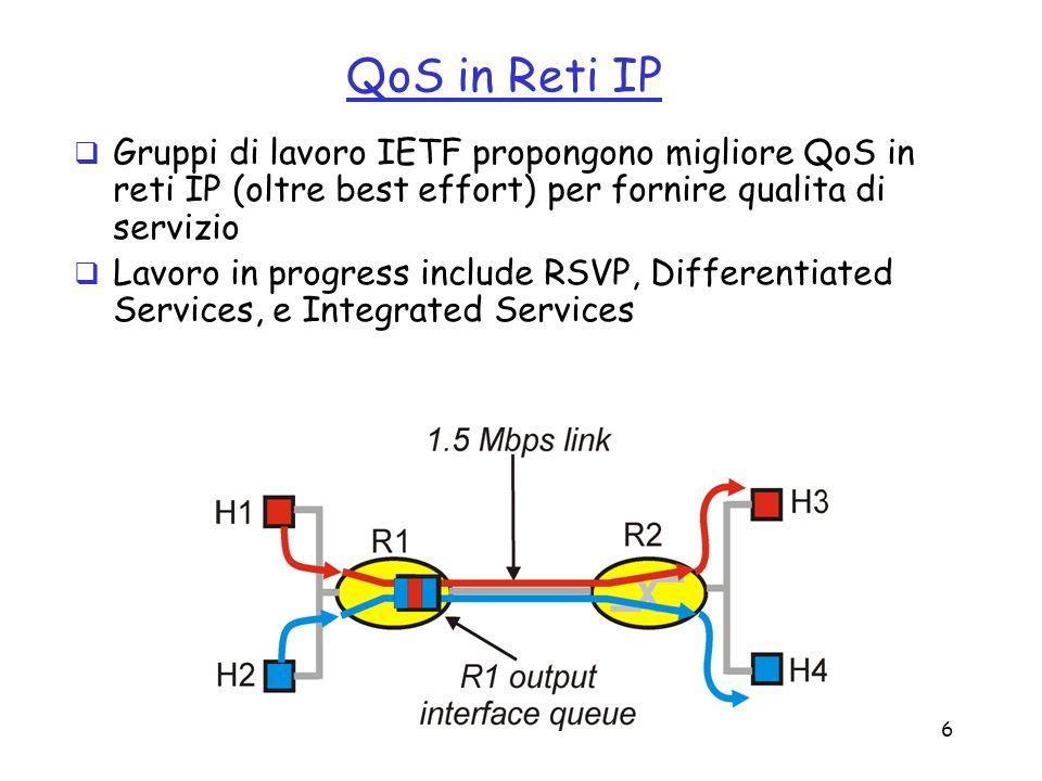 6 QoS in Reti IP Gruppi di lavoro IETF propongono migliore QoS in reti IP (oltre best effort) per fornire qualita di servizio Lavoro in progress inclu