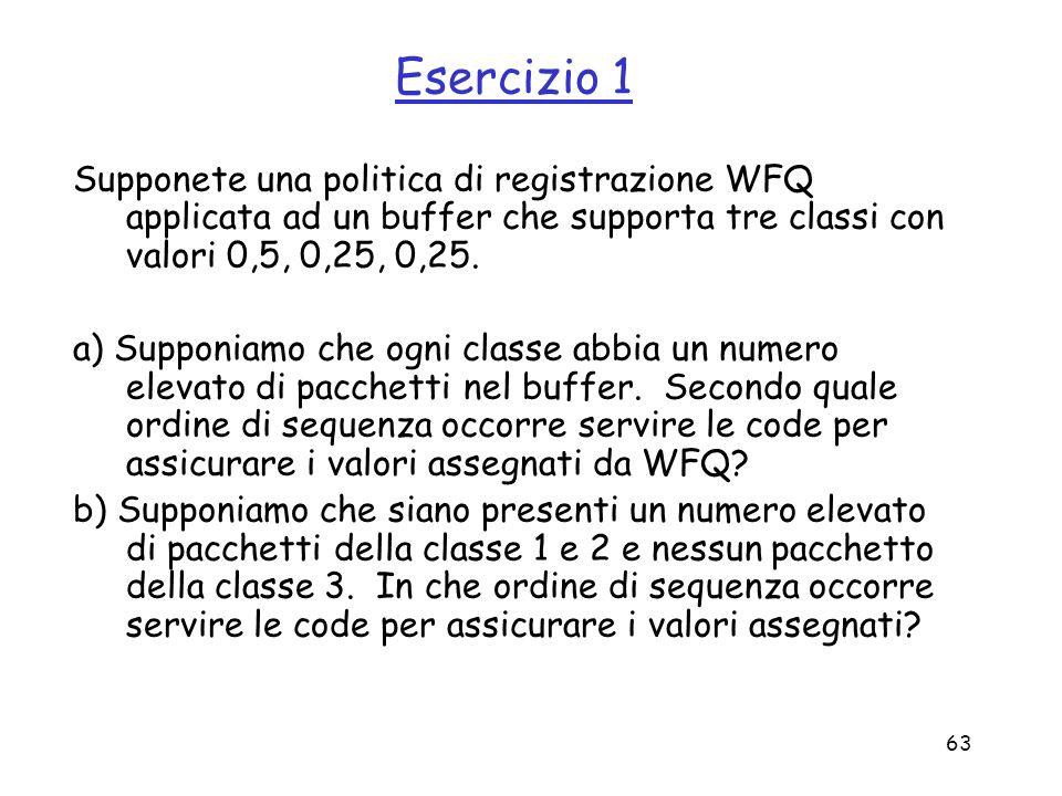 63 Esercizio 1 Supponete una politica di registrazione WFQ applicata ad un buffer che supporta tre classi con valori 0,5, 0,25, 0,25. a) Supponiamo ch