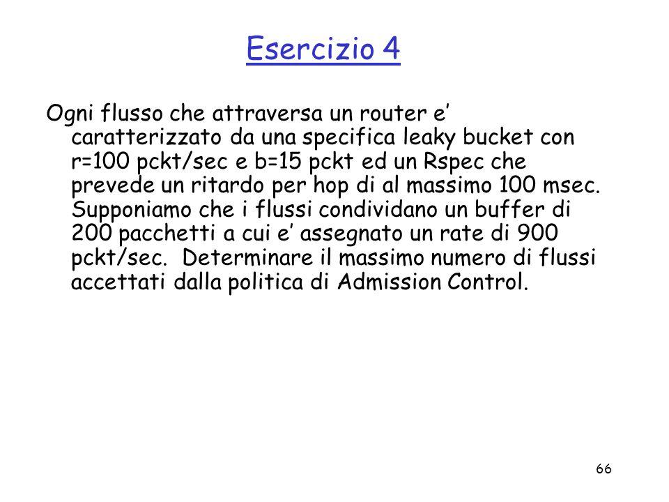 66 Esercizio 4 Ogni flusso che attraversa un router e caratterizzato da una specifica leaky bucket con r=100 pckt/sec e b=15 pckt ed un Rspec che prev