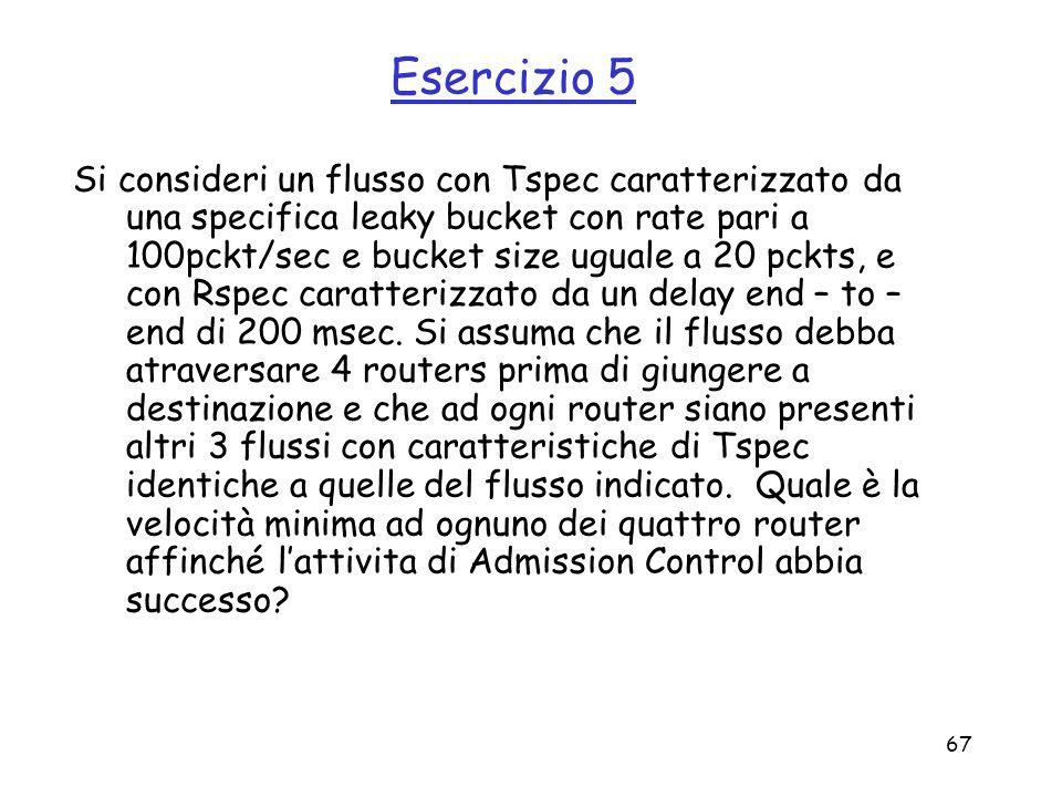 67 Esercizio 5 Si consideri un flusso con Tspec caratterizzato da una specifica leaky bucket con rate pari a 100pckt/sec e bucket size uguale a 20 pck