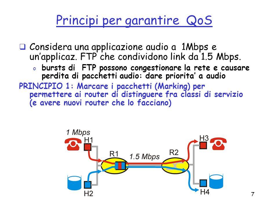 7 Principi per garantire QoS Considera una applicazione audio a 1Mbps e unapplicaz. FTP che condividono link da 1.5 Mbps. o bursts di FTP possono cong