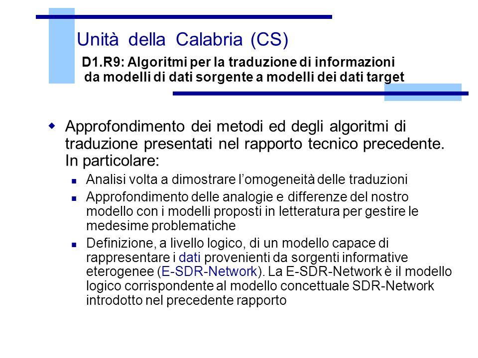 Unità della Calabria (CS) D1.R9: Algoritmi per la traduzione di informazioni da modelli di dati sorgente a modelli dei dati target Approfondimento dei