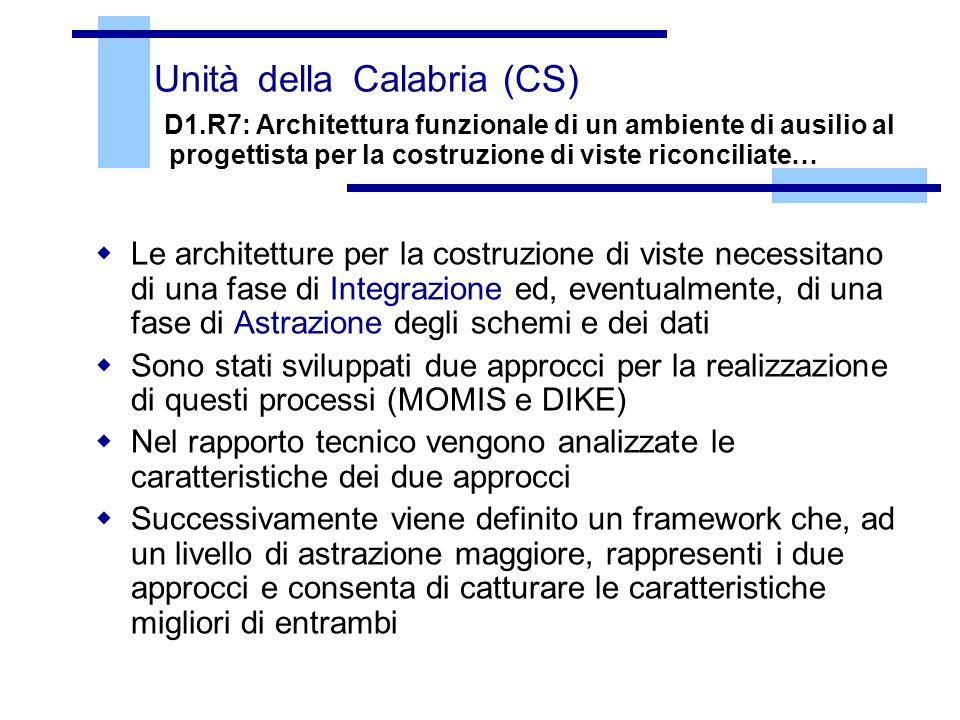 Unità della Calabria (CS) D1.R7: Architettura funzionale di un ambiente di ausilio al progettista per la costruzione di viste riconciliate… Le archite