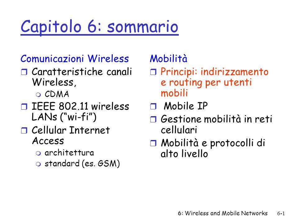 6: Wireless and Mobile Networks6-1 Capitolo 6: sommario Comunicazioni Wireless r Caratteristiche canali Wireless, m CDMA r IEEE 802.11 wireless LANs (