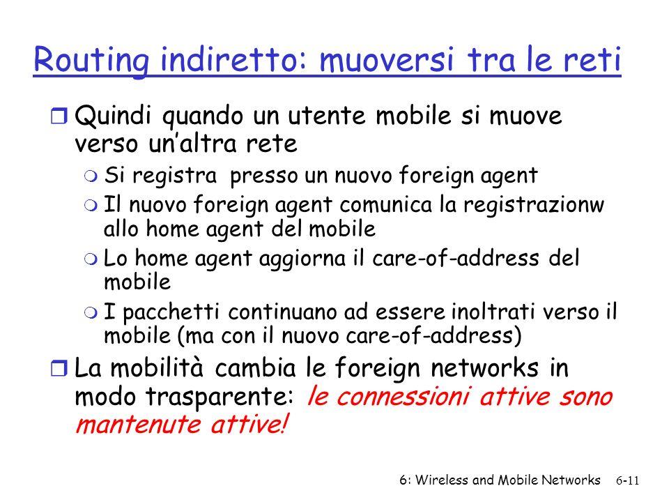 6: Wireless and Mobile Networks6-11 Routing indiretto: muoversi tra le reti r Quindi quando un utente mobile si muove verso unaltra rete m Si registra