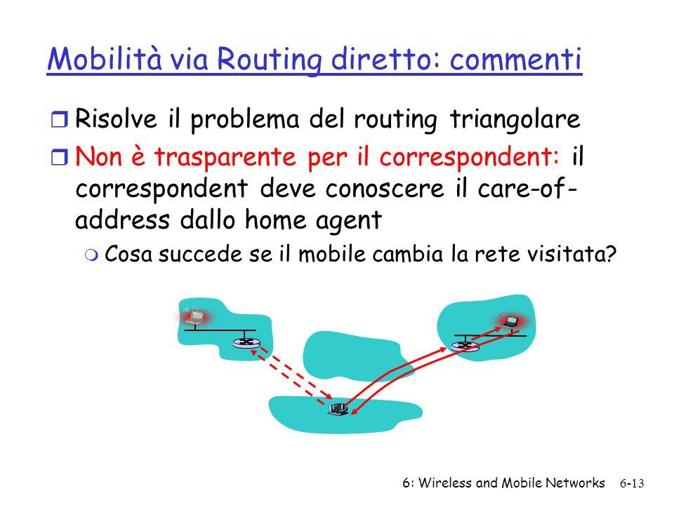 6: Wireless and Mobile Networks6-13 Mobilità via Routing diretto: commenti r Risolve il problema del routing triangolare r Non è trasparente per il co