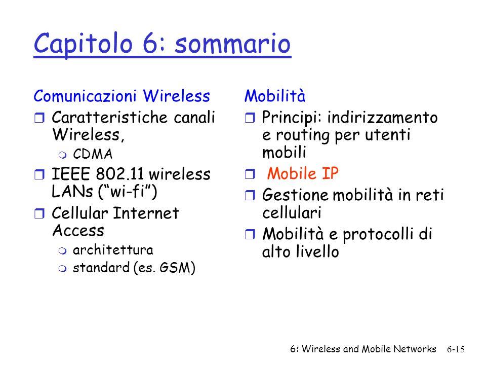 6: Wireless and Mobile Networks6-15 Capitolo 6: sommario Comunicazioni Wireless r Caratteristiche canali Wireless, m CDMA r IEEE 802.11 wireless LANs