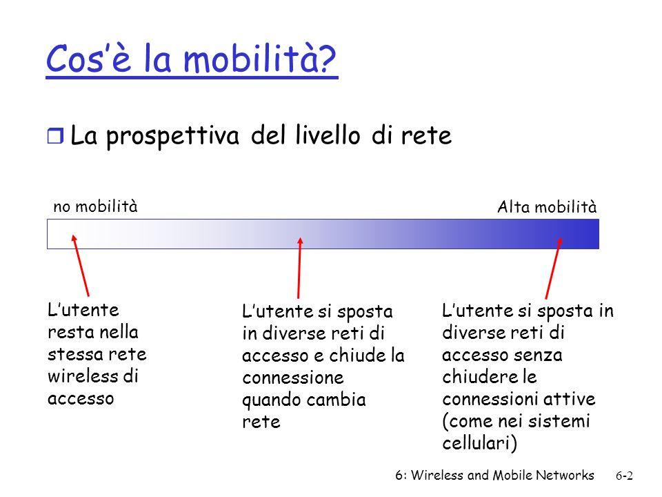 6: Wireless and Mobile Networks6-2 Cosè la mobilità? r La prospettiva del livello di rete no mobilità Alta mobilità Lutente resta nella stessa rete wi