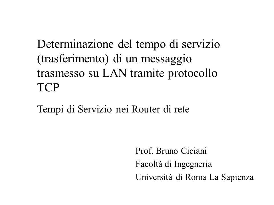 Prof. Bruno Ciciani Facoltà di Ingegneria Università di Roma La Sapienza Determinazione del tempo di servizio (trasferimento) di un messaggio trasmess