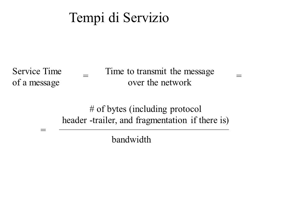 Tempi di Servizio Service Time of a message Time to transmit the message over the network = = # of bytes (including protocol header -trailer, and fragmentation if there is) bandwidth =