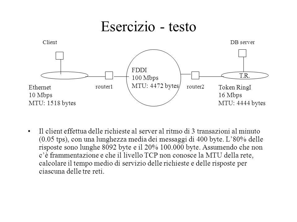 Esercizio - testo T.R. FDDI 100 Mbps MTU: 4472 bytes Il client effettua delle richieste al server al ritmo di 3 transazioni al minuto (0.05 tps), con