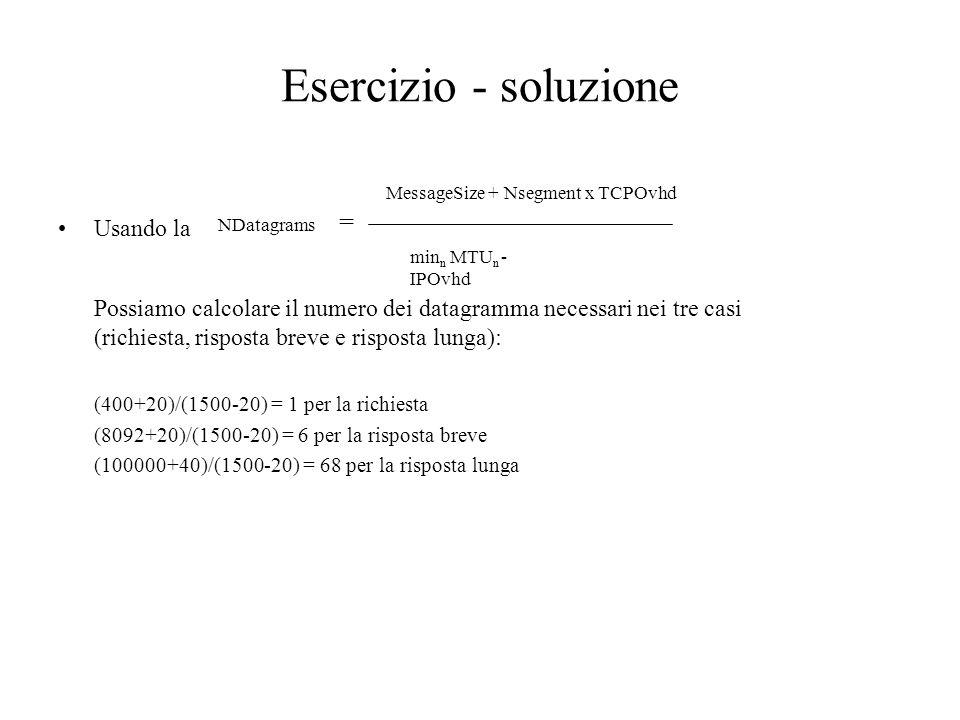 Esercizio - soluzione Usando la NDatagrams = MessageSize + Nsegment x TCPOvhd min n MTU n - IPOvhd Possiamo calcolare il numero dei datagramma necessa