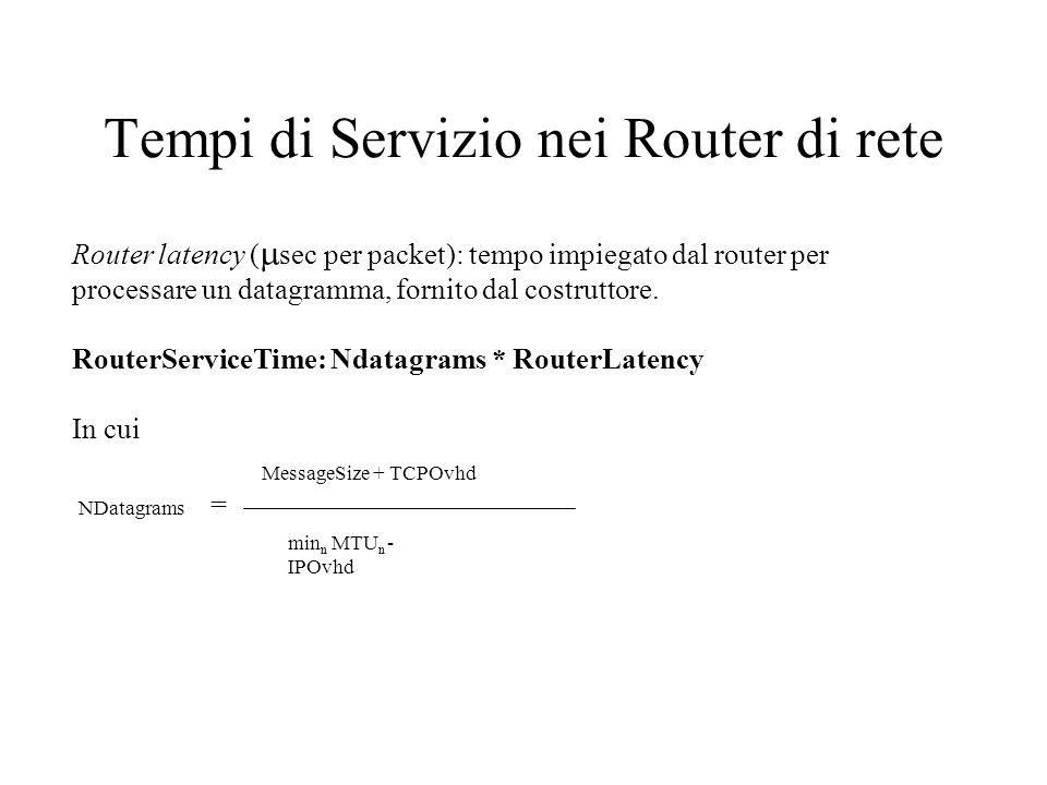 Tempi di Servizio nei Router di rete Router latency ( sec per packet): tempo impiegato dal router per processare un datagramma, fornito dal costruttore.
