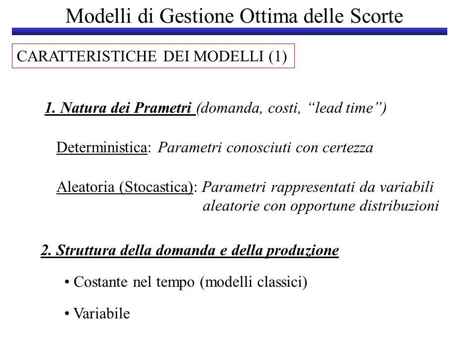 Modelli di Gestione Ottima delle Scorte CARATTERISTICHE DEI MODELLI (1) 1. Natura dei Prametri (domanda, costi, lead time) Deterministica: Parametri c