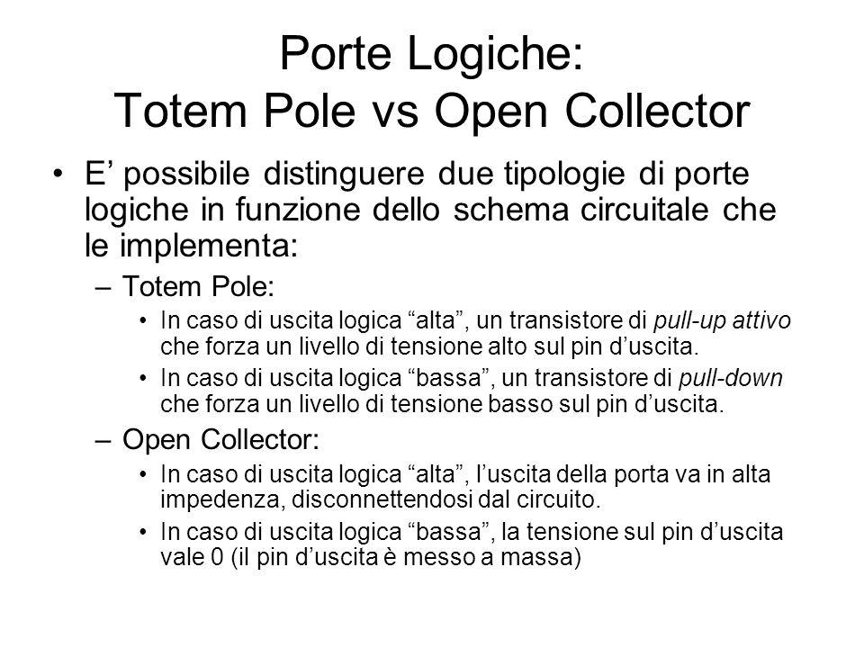 Porte Logiche: Totem Pole vs Open Collector E possibile distinguere due tipologie di porte logiche in funzione dello schema circuitale che le implemen