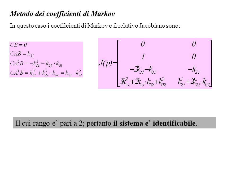 Metodo dei coefficienti di Markov In questo caso i coefficienti di Markov e il relativo Jacobiano sono: Il cui rango e` pari a 2; pertanto il sistema