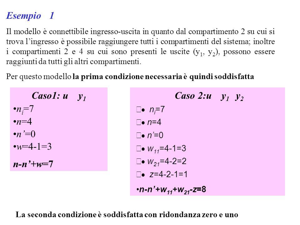 Esempio 1 Il modello è connettibile ingresso-uscita in quanto dal compartimento 2 su cui si trova lingresso è possibile raggiungere tutti i compartime