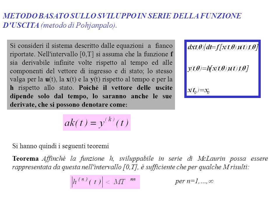 METODO BASATO SULLO SVILUPPO IN SERIE DELLA FUNZIONE D'USCITA (metodo di Pohjanpalo). Si consideri il sistema descritto dalle equazioni a fianco ripor