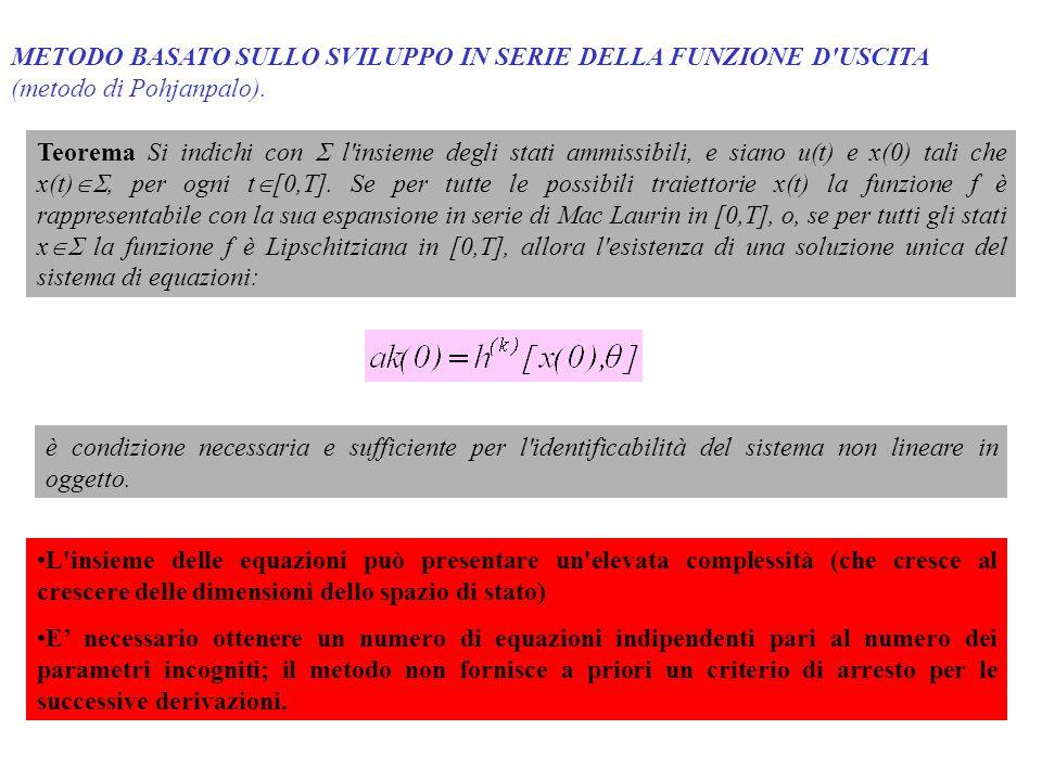 METODO BASATO SULLO SVILUPPO IN SERIE DELLA FUNZIONE D'USCITA (metodo di Pohjanpalo). Teorema Si indichi con l'insieme degli stati ammissibili, e sian