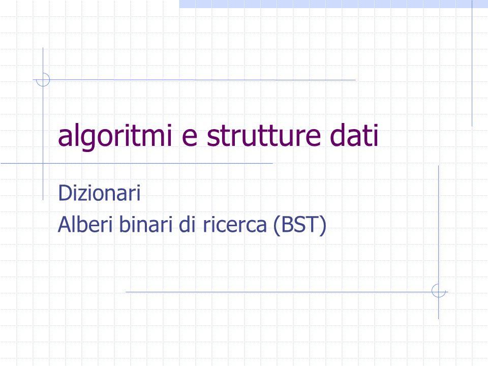 algoritmi e strutture dati Dizionari Alberi binari di ricerca (BST)
