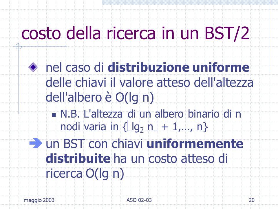 maggio 2003ASD 02-0320 costo della ricerca in un BST/2 nel caso di distribuzione uniforme delle chiavi il valore atteso dell altezza dell albero è O(lg n) N.B.