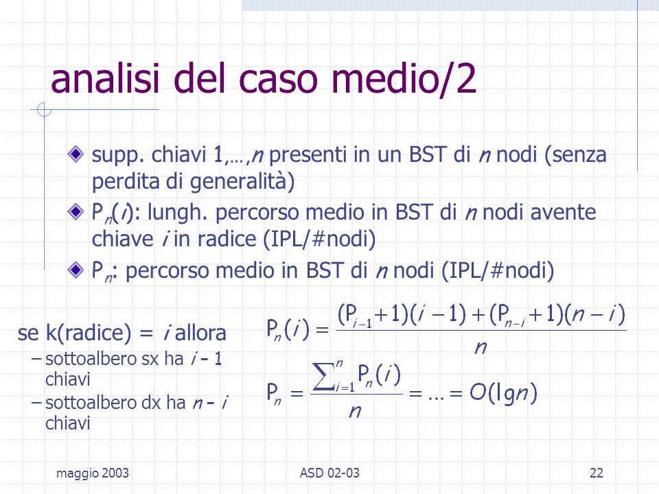 maggio 2003ASD 02-0322 analisi del caso medio/2 supp.