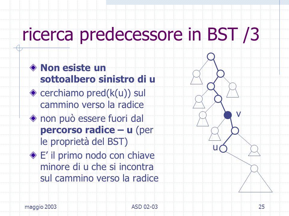 maggio 2003ASD 02-0325 ricerca predecessore in BST /3 Non esiste un sottoalbero sinistro di u cerchiamo pred(k(u)) sul cammino verso la radice non può essere fuori dal percorso radice – u (per le proprietà del BST) E il primo nodo con chiave minore di u che si incontra sul cammino verso la radice u v