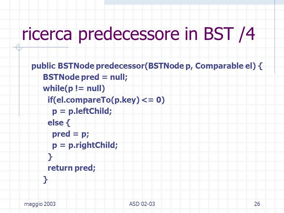 maggio 2003ASD 02-0326 ricerca predecessore in BST /4 public BSTNode predecessor(BSTNode p, Comparable el) { BSTNode pred = null; while(p != null) if(el.compareTo(p.key) <= 0) p = p.leftChild; else { pred = p; p = p.rightChild; } return pred; }