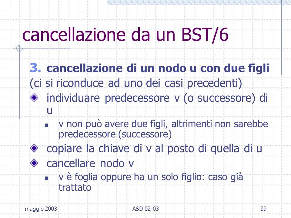 maggio 2003ASD 02-0339 cancellazione da un BST/6 3.