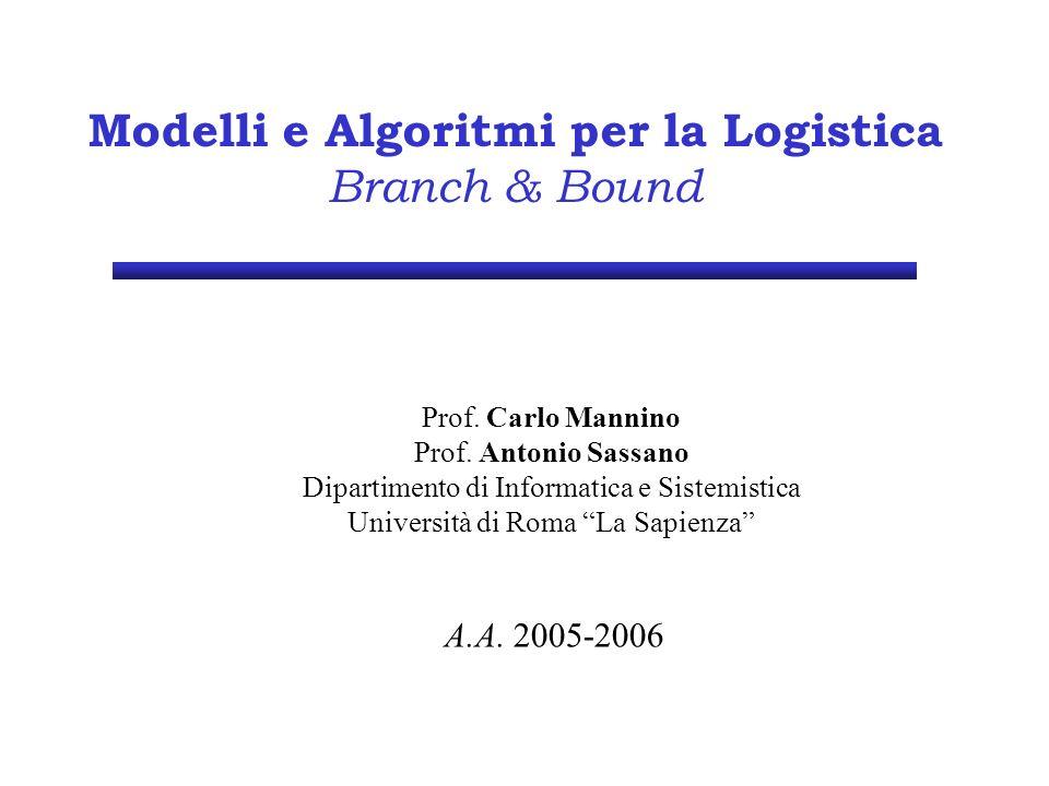 Modelli e Algoritmi per la Logistica Branch & Bound Prof.