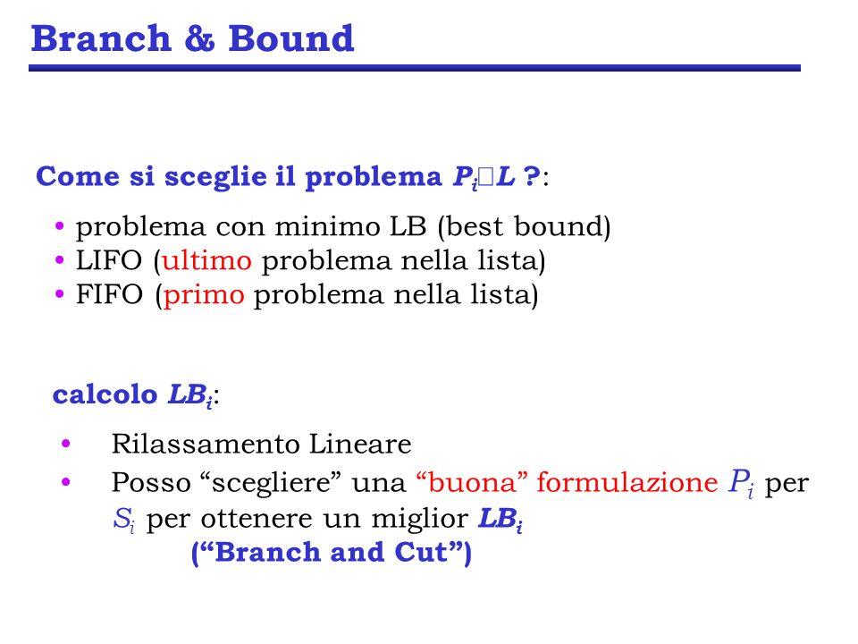 Branch & Bound calcolo LB i : Rilassamento Lineare Posso scegliere una buona formulazione P i per S i per ottenere un miglior LB i (Branch and Cut) Come si sceglie il problema P i L .