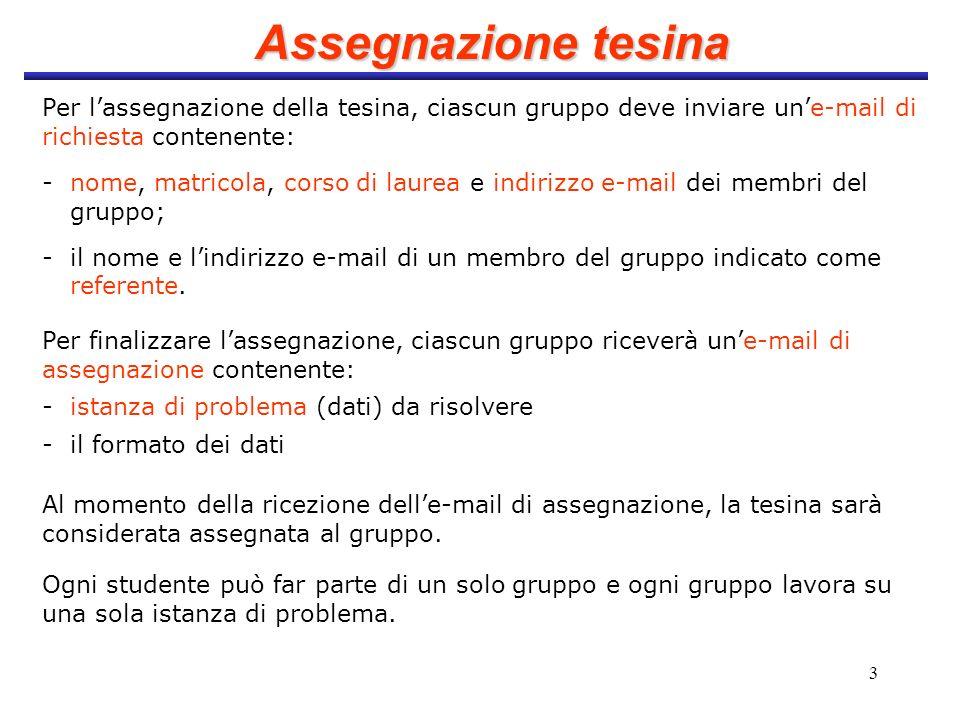 3 Assegnazione tesina Per lassegnazione della tesina, ciascun gruppo deve inviare une-mail di richiesta contenente: - nome, matricola, corso di laurea