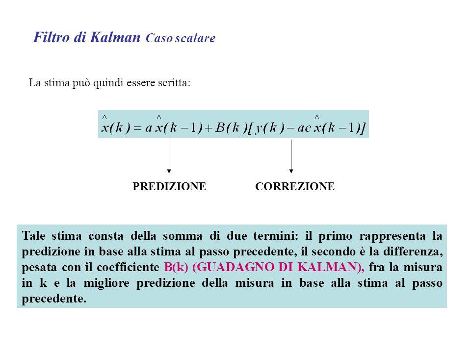 Filtro di Kalman Caso scalare La stima può quindi essere scritta: PREDIZIONECORREZIONE Tale stima consta della somma di due termini: il primo rappresenta la predizione in base alla stima al passo precedente, il secondo è la differenza, pesata con il coefficiente B(k) (GUADAGNO DI KALMAN), fra la misura in k e la migliore predizione della misura in base alla stima al passo precedente.