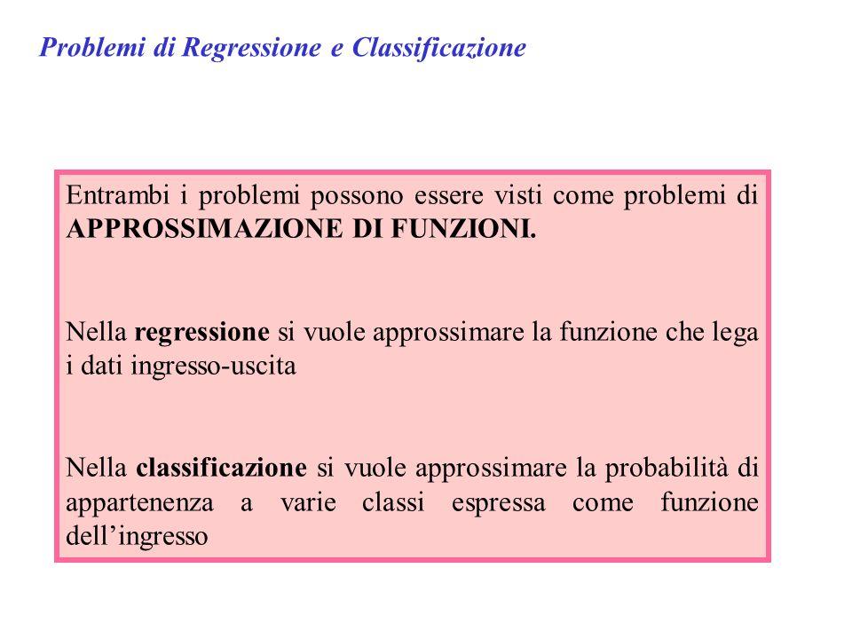 Problemi di Regressione e Classificazione Entrambi i problemi possono essere visti come problemi di APPROSSIMAZIONE DI FUNZIONI. Nella regressione si