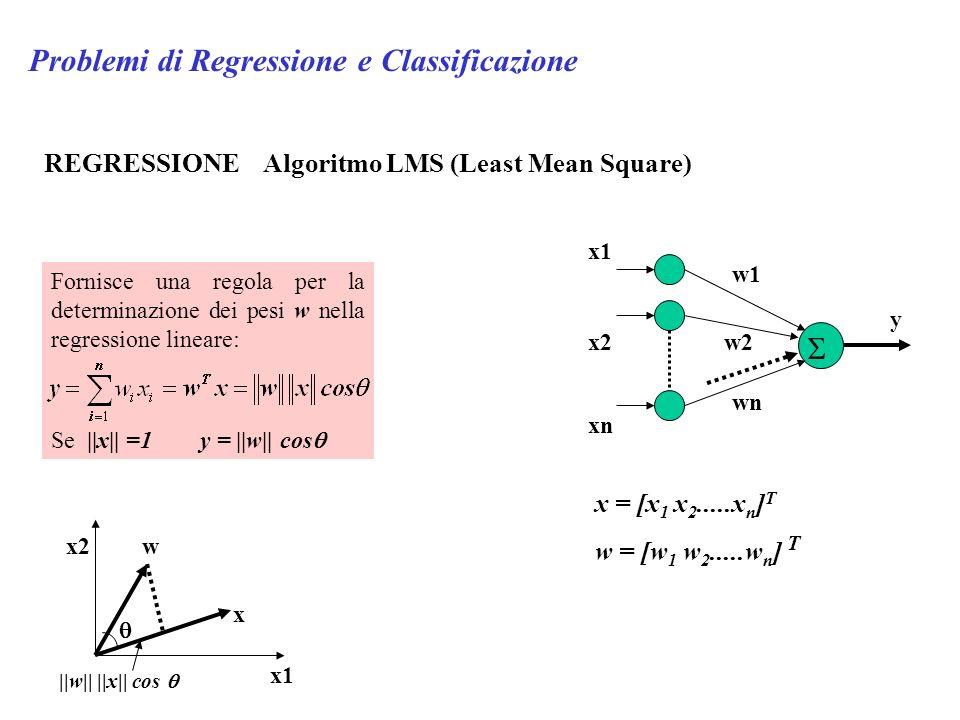 Problemi di Regressione e Classificazione REGRESSIONE Algoritmo LMS (Least Mean Square) y x1 x2 xn w1 w2 wn x = [x 1 x 2.....x n ] T w = [w 1 w 2.....w n ] T Fornisce una regola per la determinazione dei pesi w nella regressione lineare: Se ||x|| =1 y = ||w|| cos x1 x2 x w ||w|| ||x|| cos