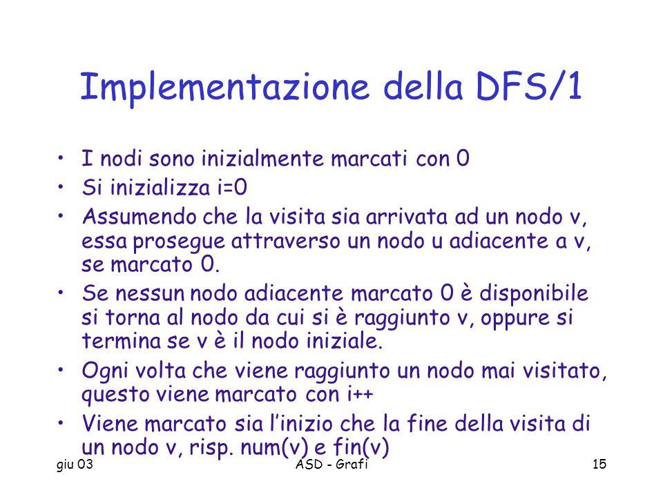 giu 03ASD - Grafi15 Implementazione della DFS/1 I nodi sono inizialmente marcati con 0 Si inizializza i=0 Assumendo che la visita sia arrivata ad un n